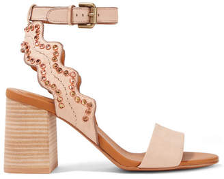 See by Chloe Crystal-embellished Scalloped Leather Sandals - Beige
