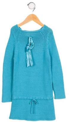 Lili Gaufrette Girls' Bow-Accented Sweater Dress