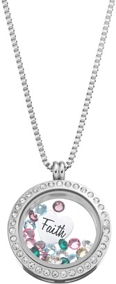 """Swarovski Blue La Rue Crystal Stainless Steel 1-in. Round """"Faith"""" Charm Locket - Made with Crystals"""