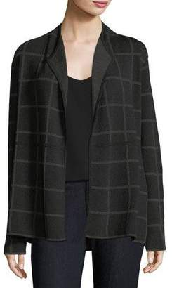 Eileen Fisher Fine Windowpane Crepe Open Cardigan, Plus Size