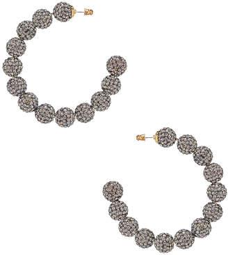 Lele Sadoughi Stardust Crystal Hoop Earrings in Black Diamond | FWRD