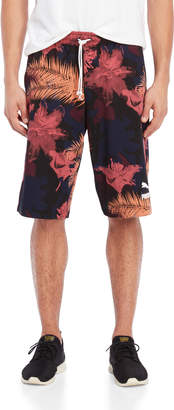 Puma Drawstring French Terry Floral Shorts