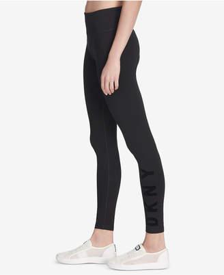 DKNY Sport Flocked-Logo High-Waist Leggings