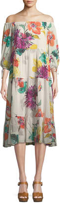Trina Turk Cattleya Splendor in the Garden Silk Stretch Dress