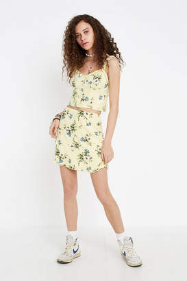Urban Outfitters Tori Yellow Floral Mini Skirt