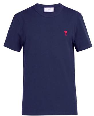 Ami De Coeur Embroidered Cotton T Shirt - Mens - Navy