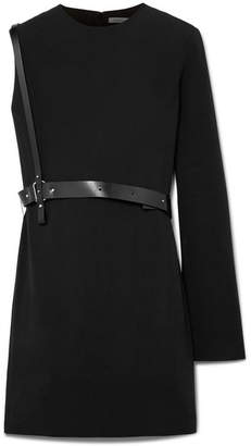 Helmut Lang One-shoulder Belted Crepe Mini Dress - Black