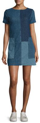 J Brand Luna Rosemary Patchwork Denim Shift Dress, Blue Pattern $248 thestylecure.com