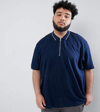Jacamo Pique Cotton Polo With Zip Neck