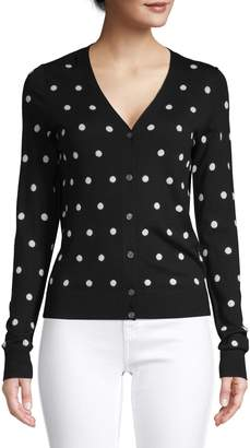 Theory Polka Dot Merino Wool Blend Cardigan