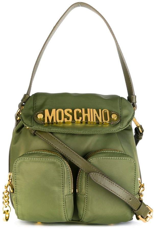 MoschinoMoschino logo plaque backpack tote