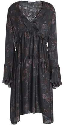 IRO Ciclone Gathered Floral-print Silk Crepe De Chine Dress