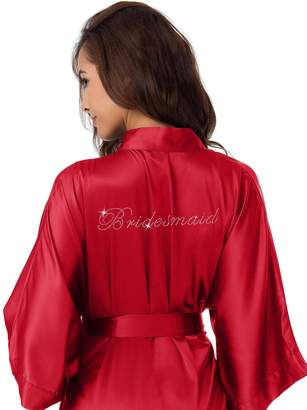 SIORO Personalized Satin Robes Bridal Wedding Party Pajamas Night Gowns for Mother of the Groom, Burgundy, L //ZS1604CPP10A//