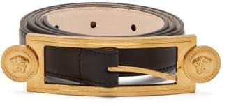 Versace Medusa Buckle Slim Leather Belt - Womens - Black
