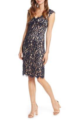 Eliza J V-Neck Lace Sheath Dress