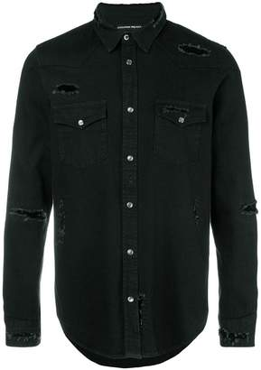 Alexander McQueen distressed denim shirt