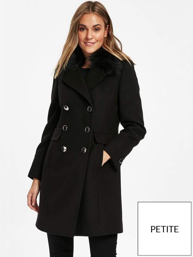 Petite Faux Fur Collar Coat