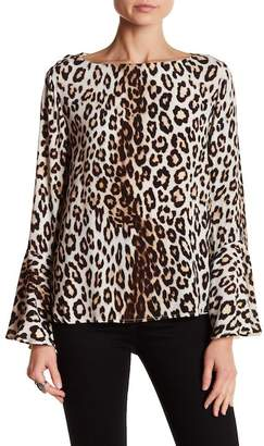 Karen Kane Patterned Bell Sleeve Chiffon Top