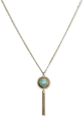 """Lucky Brand Gold-Tone Reversible Pendant Necklace, 30"""" + 2"""" extender"""