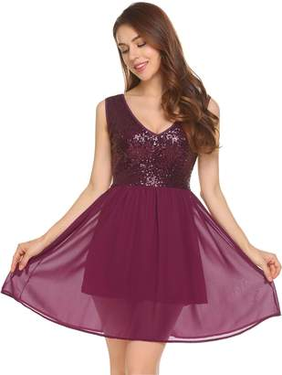 Dethler Women V-Neck Camisole Sequined Sequin Chiffon Patchwork Cocktail Club Dress Red M