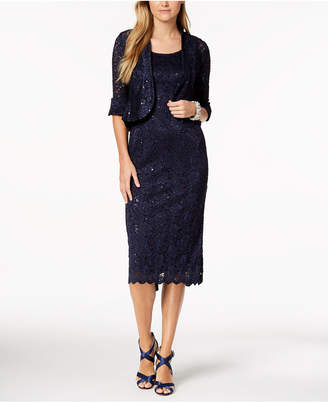 R & M Richards Sequined Lace Midi Dress and Jacket