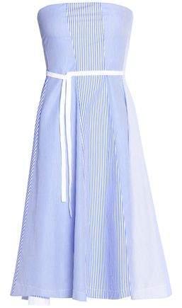 Strapless Pleated Striped Cotton-Poplin Dress