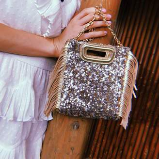 Maje Mini M bag in sequins with chain