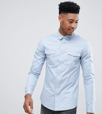 Asos Design DESIGN Tall slim fit western shirt in blue