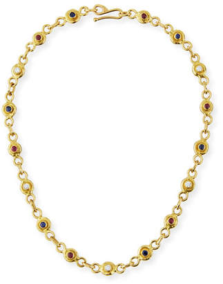 Rubie's Costume Co Jean Mahie 22K Gold Link Necklace with Diamonds, Sapphires &