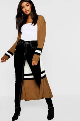 boohoo Colour Block Maxi Cardigan