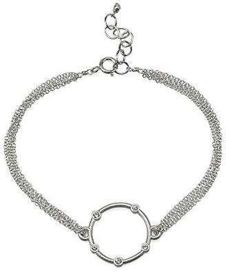 Dogeared Small Halo With Crystals On Chain Bracelet