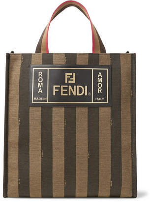 Fendi Leather-Trimmed Striped Canvas Tote Bag