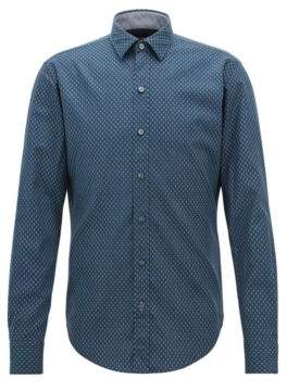 BOSS Hugo Slim-fit dobby-cotton shirt in an exclusive print XXXL Open Blue