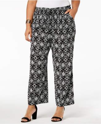 Kasper Plus Size Printed Wide-Leg Pants