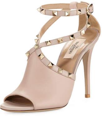 Valentino Leather Rockstud Ankle-Wrap Sandal