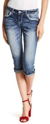 Grace In LA Denim Embroidered Capri Straight Leg Jeans
