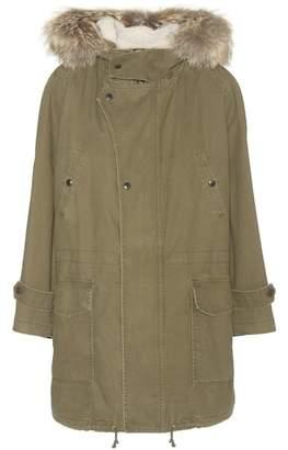 Saint Laurent Cotton and linen parka with fur-trimmed hood