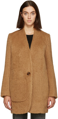 Helmut Lang Brown Shaggy Wool Coat $1,095 thestylecure.com