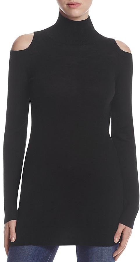 Three DotsThree Dots Cold-Shoulder Merino Wool Turtleneck Sweater