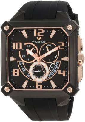 Rosegold Viceroy Men's 47639-95 Black Square Chronograph Date Rose-Gold Watch