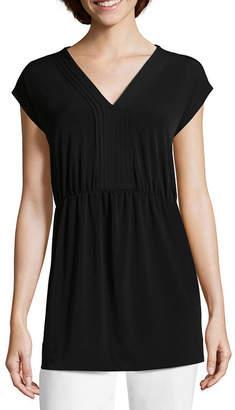 Liz Claiborne Short Sleeve Babydoll Top - Tall