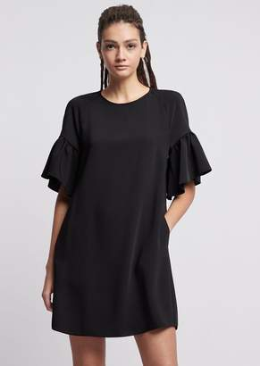 Emporio Armani Flowing Fabric Dress With Ruffled Sleeves