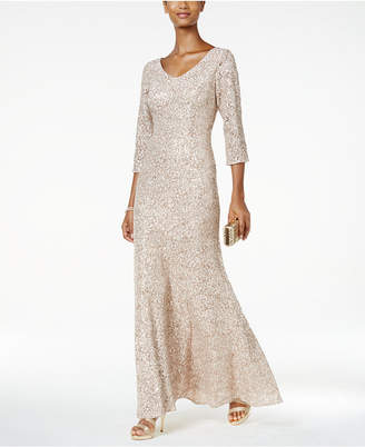 Alex Evenings Sequined Floral Lace Gown