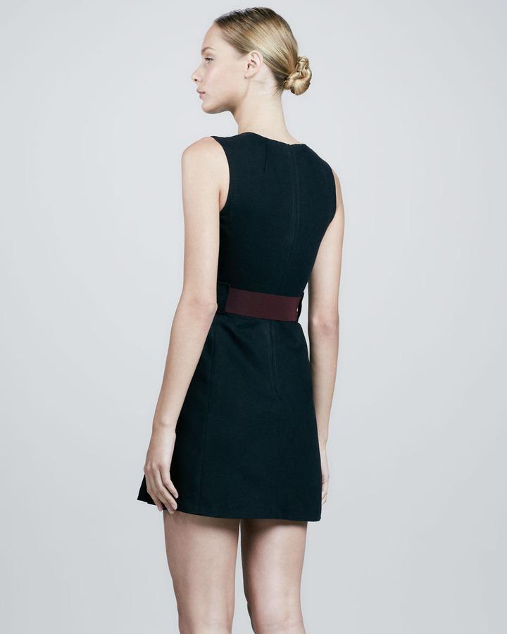 Victoria Beckham Denim Belted Center-Pleat Dress