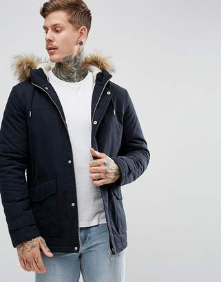 New Look Parka With Faux Fur Hood In Navy