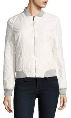 French Connection Chevron Cotton-Blend Bomber Jacket