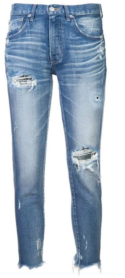Vintage ripped raw hem jeans