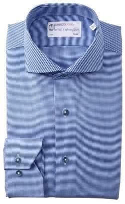 Lorenzo Uomo Mini Houndstooth Trim Fit Dress Shirt