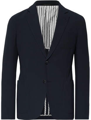 Giorgio Armani Storm-Blue Upton Slim-Fit Virgin Wool-Seersucker Suit Jacket - Men - Storm blue