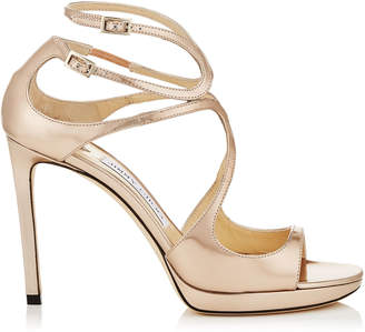 Jimmy Choo LANCE/PF 100 Ballet Pink Liquid Mirror Leather Strappy Sandals